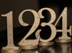 Wedding Table Numbers in Metallic Gold - Decor Ideas for Vintage Weddings