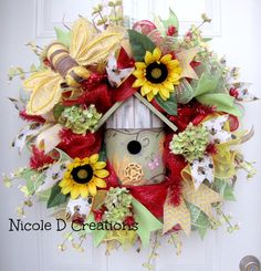 Sunflower Deco Mesh Bee Wreath Burlap Red Lime by NicoleDCreations