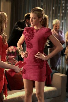 Blake Lively wearing Marchesa Fall 2010 Pink Suede Open Back Paisley Appliqued Dress.