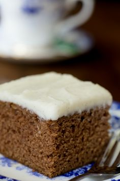 Easy, One Bowl Gingerbread Cake with Vanilla Bean Icing - this might just be the easiest, moistest, most delicious cake you've ever made! Yummy vanilla bean icing tops it all off.