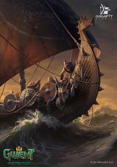 Viking Ship Tattoo, Viking Tattoos, Witcher Art, The Witcher, Medieval Fantasy, Sci Fi Fantasy, Norwegian Vikings, Nordic Tattoo, Viking Art