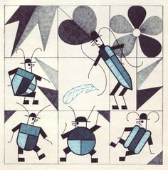 ¤ Ten Beetles Humming These illustrations come from a Czech anthology which pairs stories for children with six different Czech illustrators.  Jan Kubíček (b.1927) seems to have gone on to make 'geometrical' graphic art. He illustrated numerous books in the 70s. http://50watts.com/filter/czech/Ten-Beetles-Humming