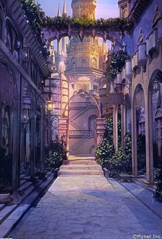 New fantasy landscape castles scenery ideas Fantasy City, Fantasy Castle, Fantasy Places, Fantasy World, Fantasy Art Landscapes, Fantasy Landscape, Fantasy Artwork, Landscape Art, Landscape Paintings