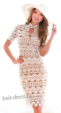 White Crochet Dress | White crochet lace dress: Платье белое ажурное ...