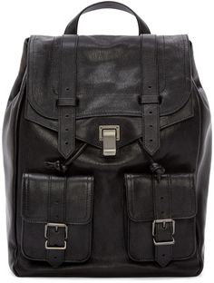 Proenza Schouler Black Lux Leather PS1 Backpack