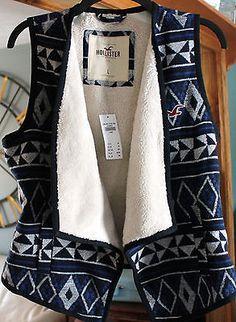 Navy-Aztec-Print-Sherpa-Lined-Vest-Hollister-NWT-sz-L-Large $24.95