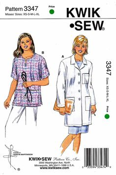 Kwik Sew Sewing Pattern 3347 Misses Sizes XS-XL (8-22) Lab Coat Scrub Top -- Currently Available for sale from www.MoonwishesSewingandCrafts.com