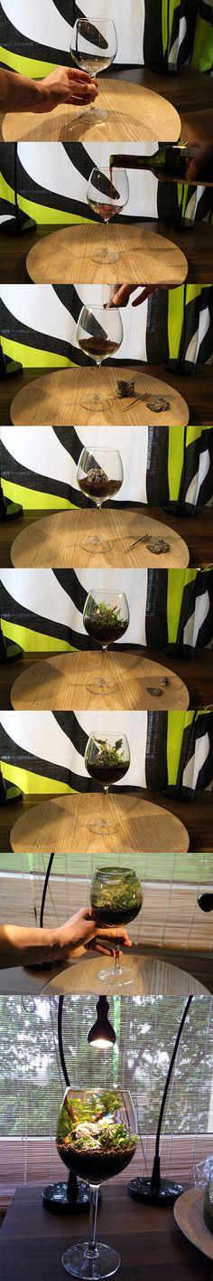 Making of wineglass aquascape