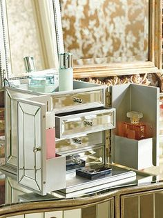 Give your Valentine a luxurious way to organize cosmetics, fragrance, and jewelry.