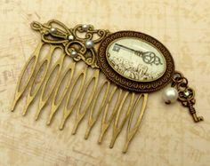 Pulpo de Steampunk antigua joyería de pelo bronce por Schmucktruhe