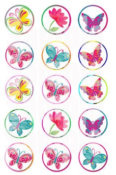Free: Butterfly with border bottle cap images Emailed - Scrapbooking & Paper Crafts Carta Collage, Collage Sheet, Bottle Cap Projects, Bottle Cap Crafts, Bottle Cap Magnets, Bottle Cap Art, Decoupage, Craft Projects, Projects To Try