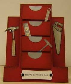 Stitchin' n Stampin' on Paper: Make It Monday - Tool Box - Stair Step Card.  (Pin#1: Masculine: Tools... Pin+: Folds...).
