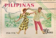 1963 -Philippine Republic Stamps -On September 15, 1963, the Bureau of Posts issued the first Philippine Republic stamps celebrating  Filipino culture:  a se-tenant set of four stamps featuring  popular Philippine folk dances printed by Thomas de la Rue and Co. Ltd., England.