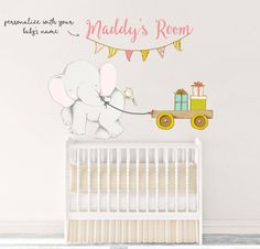 Toddler Wall Art Toddler Decal Toddler Decor Baby Wall Name Baby Wall Stickers Baby Wall Decor Baby Wall Decal Kids Wall Elephant 003WDEGC by TppCardS #tppcards #printable #invitations