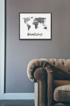 Wanderlust Print - Watercolor World Map Print - Travel Quote World Map - Black Watercolor Map - World Map Quote - Travel Decor - Wall Art by ModPopDeco on Etsy https://www.etsy.com/listing/250540477/wanderlust-print-watercolor-world-map