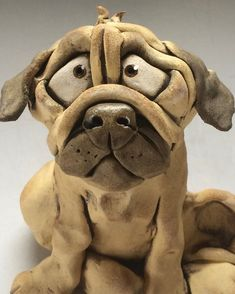 Pug Dog Ceramic Sculpture by Lucy Kite
