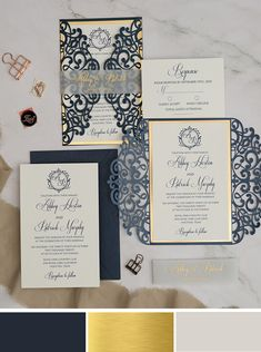 Classic blue and shimmer gold wedding invites