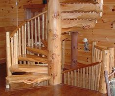 log home staircases
