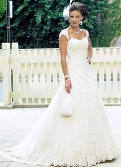 A-line Sweetheart Cap Sleeves Lace Satin Wedding Dress