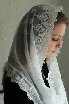 """Evintage: """"Our Lady of the Doves"""" Lace Infinity Mantilla Chapel Veil White Embroidered by EvintageVeils on Etsy"""