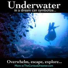 Being under water in a dream can mean... More at TheCuriousDreamer... #dreammeaning #dreamsymbols
