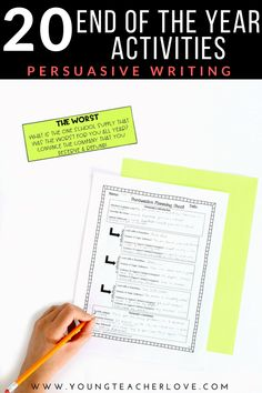 20 End of the Year Activities: Persuasive Writing - Young Teacher Love by Kristine Nannini 5th Grade Classroom, Middle School Classroom, Poetry Activities, Stem Activities, Persuasive Writing, Teaching Writing, Special Education Teacher, My Teacher, End Of Year