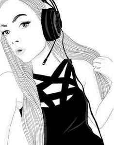 drawing of gamer girl Hipster Girl Drawing, Tumblr Girl Drawing, Art Tumblr, Tumblr Drawings, Tumblr Girls, Tumblr Outline, Outline Art, Outline Drawings, Cute Drawings