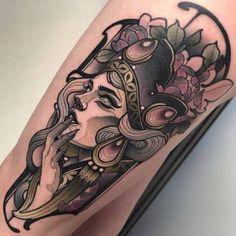 New post on tattinitup Head Tattoos, Finger Tattoos, Body Art Tattoos, Girl Tattoos, Sleeve Tattoos, Tattoo Snake, Neo Tattoo, Neo Traditional Art, Traditional Tattoo Flash