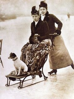 Victorian ladies enjoying a day on the ice with their Rat Terrier (or Jack Russell). Antique Photos, Vintage Pictures, Vintage Photographs, Old Pictures, Vintage Images, Vintage Abbildungen, Photo Vintage, Jack Russell Terrier, Dog Photos