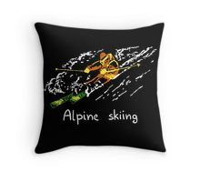 $16.68-$33.37 Throw Pillow Alpine skiing #downhill skiing #TShirt Tee #Shirt T-Shirt, #Sports #sport or recreation of sliding down #snow-covered hills on #skis with fixed-heel bindings, #Alpine #skiing has been an #event at the #winter #games #2018 #PyeongChang #South #Korea, iPhone Case Skin, Mug