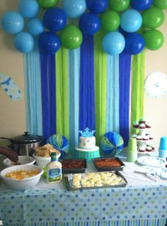 Food table with decorations on the wall