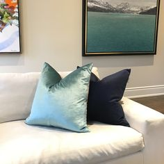 Pictured here, pillows by Julanna Vine, designer and founder of J Vine Studio, featuring pillows from Two-Toned Velvet collection - in Seaglass and Navy - available at ELTE mkt in Toronto or online. Julanna sells wholesale to retailers or direct sales. Textile Prints, Textile Design, Velvet Pillows, Throw Pillows, Designer Pillow, Direct Sales, Vines, Toronto, Navy