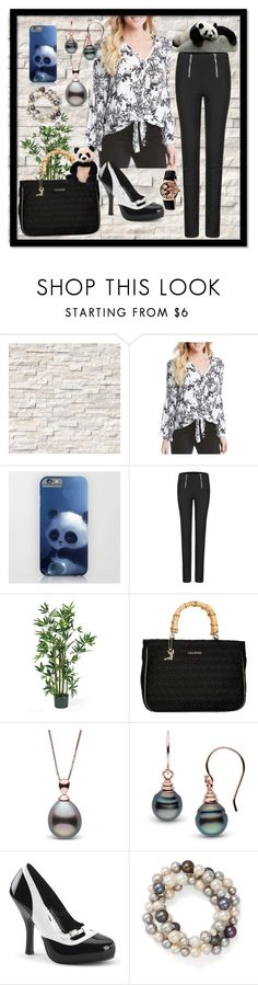 """Panda Inspired Career Wear"" by aurorasblueheaven ❤ liked on Polyvore featuring Karen Kane, Lollipops, Pinup Couture, Bloomingdale's, Gund and Bertha"