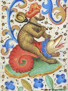 Hybrid man, wearing hat, carrying pan over his right shoulder and seated astride fantastic animal | Book of Hours | France, Paris | ca. 1460 | The Morgan Library & Museum