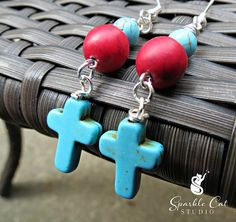 Turquoise Blue Cross and Red Dyed Turquoise Earrings by SparkleCatStudio  Handcrafted in our study with 25% of proceeds donated to animal rescues.  Find us on Facebook: https://www.facebook.com/SparkleCatStudio