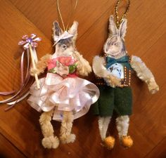 Set of 2 Chenille Easter Bunny Ornaments by twojackmama on Etsy, $15.00