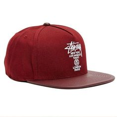 1442a4bf54f The World Tour Maroon Snapback Hat by Stussy