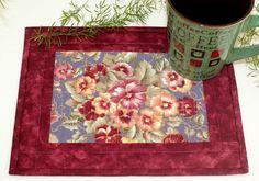 Pansies Mug Rug Quilted Mug Rug Cranberry by RedNeedleQuilts