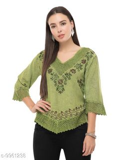 Tops & Tunics SAAKAA Women's Rayon Green Embroidery Top Fabric: Cotton Pattern: Embroidered Multipack: 1 Sizes: S XL XS L M XXL Country of Origin: India Sizes Available: XS, S, M, L, XL, XXL   Catalog Rating: ★4.2 (847)  Catalog Name: Stylish Fabulous Women Tops & Tunics CatalogID_1777086 C79-SC1020 Code: 813-9961238-657