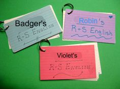 Using index cards for narrating daily lessons.