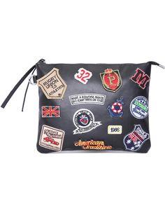 Black Patch PU Clutch Bag
