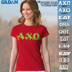 Alpha Chi Omega Ladies' SoftStyle Printed Tee $15.95 #Greek #Sorority #Clothing #AChiO #AlphaChiOmega