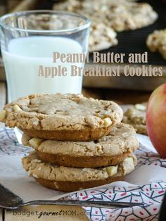 Big Peanut Butter Apple Breakfast Cookies