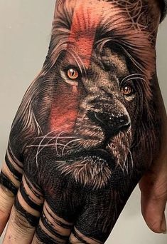 150 Trendy Hand Tattoos for Men You Must See - Tattoo Me Now Lion Hand Tattoo Men, Hand Tattoo Cover Up, Lion Tattoo Sleeves, Hand Tats, Animal Tattoos For Men, Hand Tattoos For Women, Time Tattoos, Wolf Tattoos, Christian Wrist Tattoos