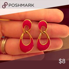Vintage Earrings Red and gold double hoop earrings with straight posts. Let me know if you'd like more information. Thanks for looking! Jewelry Earrings