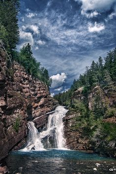 The Cameron Falls, Waterton Lakes National Park, Canada. Beautiful Waterfalls, Beautiful Landscapes, Parc National, National Parks, Places To Travel, Places To See, Beautiful World, Beautiful Places, Landscape Photography