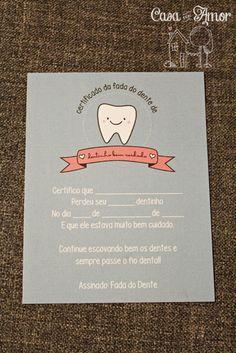 Certificado da Fada do Dente foférrimo!! - da Casa com Amor