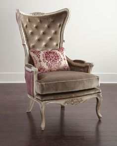 H7TLQ Massoud Clinton Wing Chair MY NOTE:  Beautiful chair for reading curled up with your legs hanging over one of the arms. Thank you, Horchow Collection!