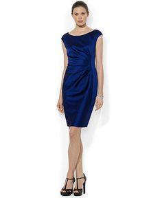 Lauren Ralph Lauren Cap-Sleeve Satin Sheath Dress - Bridesmaids - Women - Macy's