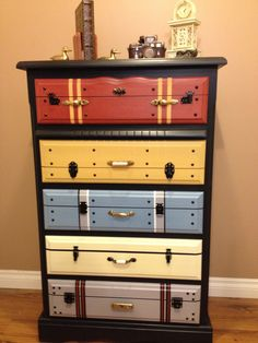 faux suitcase painted chest of drawers!Another faux suitcase painted chest of drawers! Funky Furniture, Refurbished Furniture, Paint Furniture, Repurposed Furniture, Furniture Projects, Furniture Making, Furniture Makeover, Furniture Stores, Vintage Furniture